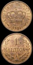 London Coins : A167 : Lot 2308 : Crete Lepton  (2) 1901A KM#1 UNC the obverse with traces of lustre, the reverse with around 50% lust...