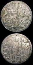 London Coins : A167 : Lot 2379 : Turkey - Ottoman Billon issues (2) Two Zolota AH1187/13 (1787) KM#403, 26.18 grammes,  Good Fine wit...