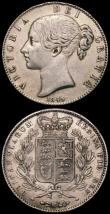 London Coins : A167 : Lot 2409 : Crowns (2) 1845 Cinquefoil stops on edge ESC 282, Bull 2564 Fine with a small edge bruise, 1847 Youn...