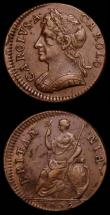 London Coins : A168 : Lot 1196 : Farthings (2) 1672 Peck 519 GVF the reverse with a few small spots, 1736 Peck 864 NEF/GVF 1 over 1 a...