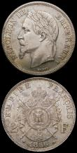 London Coins : A168 : Lot 770 : France 2 Francs 1866A KM#807.1 GEF/AU and attractively toned, Belgium 50 Centimes 1898 French Legend...