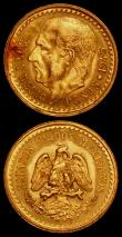 London Coins : A169 : Lot 1016 : Mexico Gold (2) 2 1/2 Pesos (2) 1945 KM#463 EF with some toning on the obverse, 1948 KM#463 UNC
