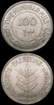 London Coins : A169 : Lot 1034 : Palestine (2) 100 Mils 1935 KM#7 UNC and nicely toned, 50 Mils 1939 KM#6 UNC and lustrous with minor...