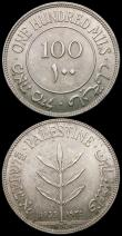 London Coins : A169 : Lot 1043 : Palestine 100 Mils (2) 1935 KM#7 UNC or near so, the obverse lightly toned, 1942 KM#7 UNC and lustro...