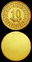 London Coins : A169 : Lot 1108 : Tunisia 10 Millim 1960 Obverse and Reverse uniface trial pair, struck in gold, design as KM#306, wei...