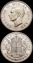 London Coins : A169 : Lot 1333 : Crowns (2) 1935 Specimen ESC 376, Bull 3652 AU/UNC the obverse with a colourful, speckled tone, the ...