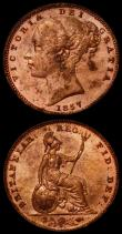 London Coins : A169 : Lot 1424 : Farthings 1857 Peck 1585 (2) A/UNC to UNC and with some toning and considerable mint lustre, one wit...