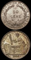 London Coins : A170 : Lot 1005 : French Indo-China (2) 50 Cents 1936 KM#4a.2 AU/UNC and lustrous the obverse with golden tone, 20 Cen...