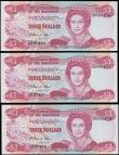London Coins : A170 : Lot 136 : Bahamas (3) a high grade, about UNC - UNC, consecutively numbered trio of the QE2 portrait 3 Dollars...