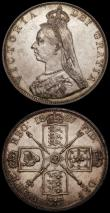 London Coins : A170 : Lot 1458 : Double Florins (2) 1887 Roman 1 ESC 394, Bull 2695 GEF and lustrous with some contact marks, 1887 Ar...