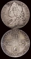 London Coins : A171 : Lot 1554 : Halfcrowns (2) 1689 First Shield, Caul only frosted, with pearls ESC 505, Bull 831 VG or better, 174...