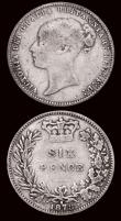London Coins : A171 : Lot 1745 : Sixpences (2) 1878 DRITANNIAR error, ESC 1735, Bull 3236, Die Number 6, the 6 struck over a lower 6,...