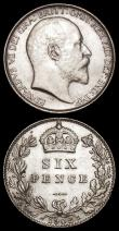 London Coins : A171 : Lot 1746 : Sixpences (2) 1902 ESC 1785, Bull EF and lustrous, the obverse with many hairlines and contact marks...