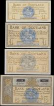 London Coins : A171 : Lot 216 : Scotland Bank of Scotland (4) in various grades VF-GVF to about UNC - UNC comprising 1 Pounds (3) co...