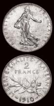 London Coins : A171 : Lot 581 : France (3) 50 Centimes 1903 KM#854 A/UNC and lustrous, Rare, 2 Francs (2) 1902 KM#845.1 EF with a fe...