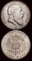London Coins : A171 : Lot 601 : German States (2)  Saxony-Albertine 2 Thaler 1861B KM#1215 NEF with old grey tone, Baden 5 Marks 190...