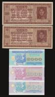 London Coins : A172 : Lot 174 : Ukraine 10 Karbowanez 5.3.1942 Pick 52 (2) one VF the other Unc along with 500, 1000 and 2000 Karbov...