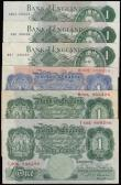 London Coins : A172 : Lot 24 : One Pounds (6) Peppiatt Blue Shade B249 B80D prefix VF, Beale B268 1950 issue T50C prefix VF, O'...