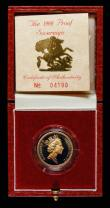 London Coins : A172 : Lot 314 : Sovereign 1988 Proof S.SC2 nFDC/FDC the obverse lightly toned, in the Royal Mint box of issue with c...